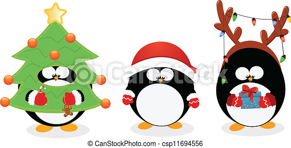 christmas penguin set cute little penguins with christmas costumes