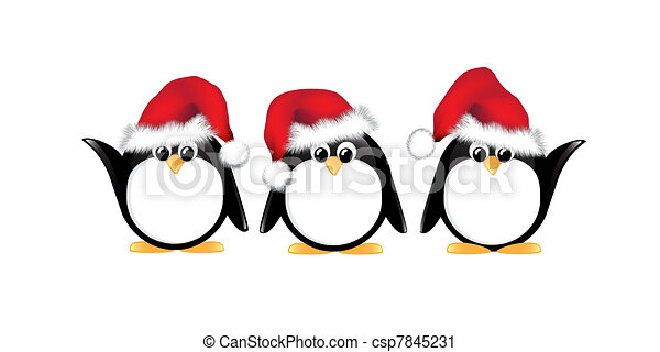 Line Drawing Penguin : Christmas penguins isolated. winter cartoon wearing