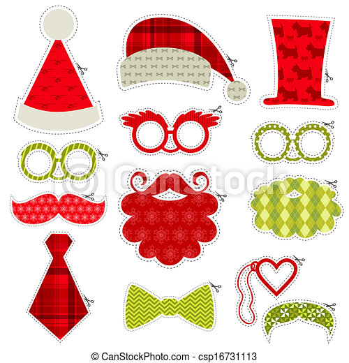 Christmas Photobooth Party set - Glasses, hats, lips, mustaches, masks - in vector - csp16731113