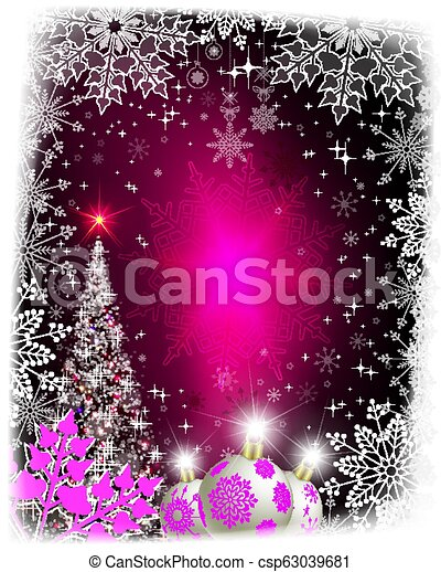 Christmas pink card with a silhouette of a shining Christmas tree. - csp63039681