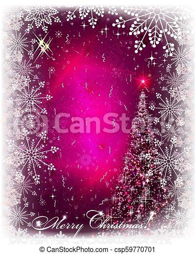 Christmas pink card with shiny Christmas tree. - csp59770701