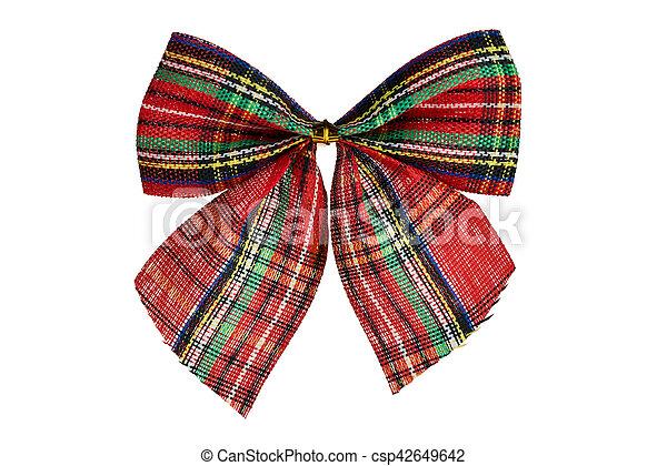 Christmas plaid bow isolated on white background - csp42649642