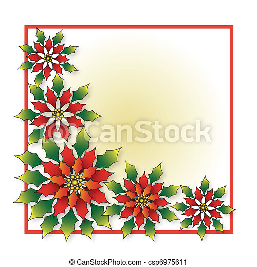 Christmas poinsettia frame - csp6975611