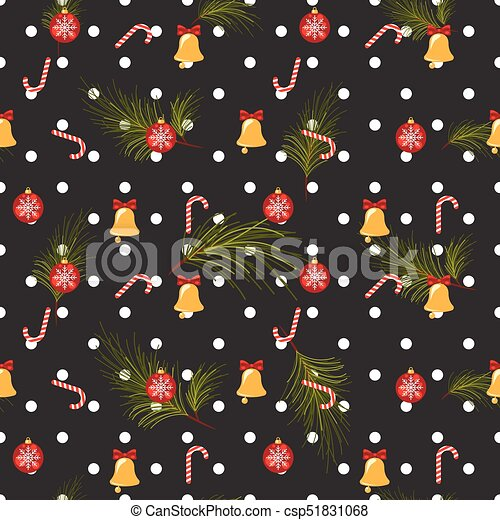 Dark Christmas.Christmas Polka Dot Dark Seamless Vector Pattern