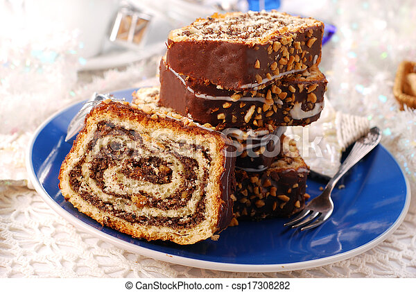 christmas poppy cake with nuts - csp17308282