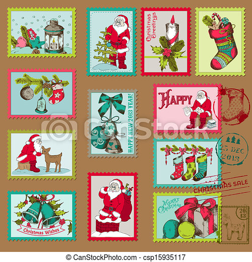 Christmas Postage Stamps For Design Scrapbook In Vector Vector Clip Art Search