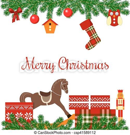 Nutcracker Christmas Tree Clipart.Christmas Postcard With Gifts