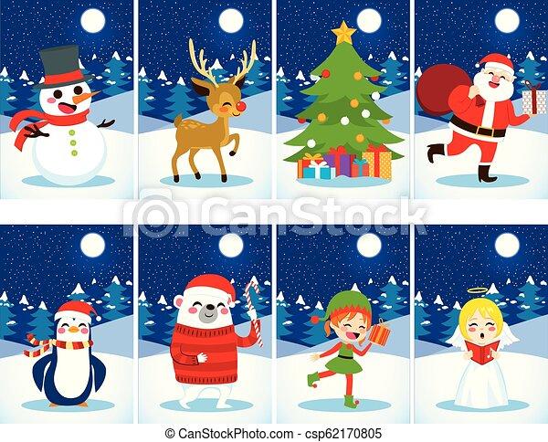 Christmas Postcards.Christmas Postcards Characters
