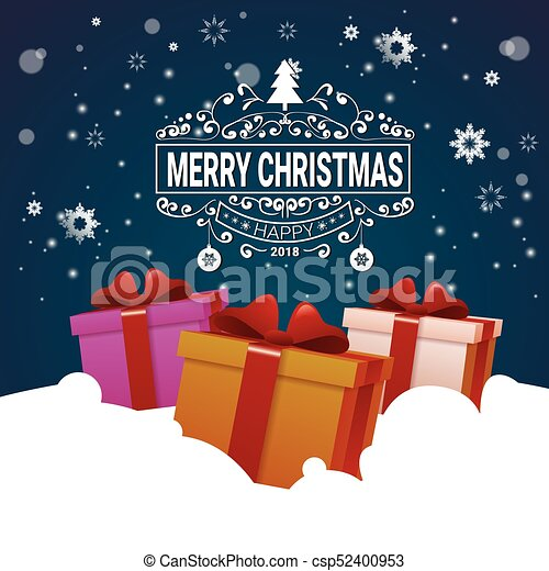 Merry Christmas Poster 2018.Christmas Poster Colorful Gift Boxes In Snow Winter Holidays Banner Design