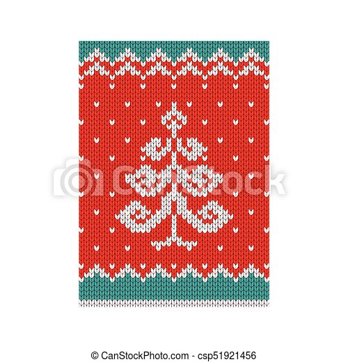 Christmas Poster Tree Knitted Christmas Tree Pattern Vector Flat