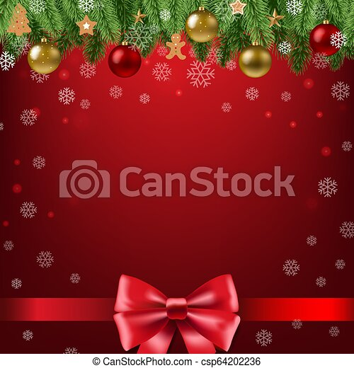 Christmas Poster With Bow - csp64202236