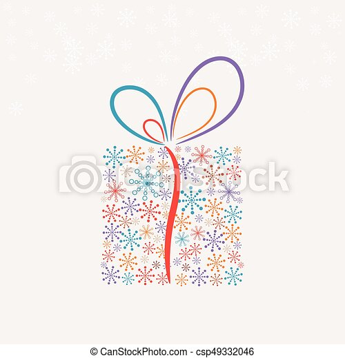 Christmas present box made from snowflakes (vector) - csp49332046