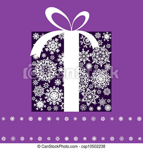Christmas present box made from snowflakes. EPS 8 - csp10502238