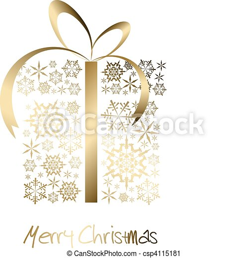 Christmas present box made from golden snowflakes - csp4115181
