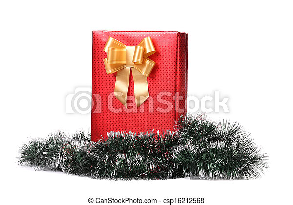Christmas present with golden ribbon. - csp16212568