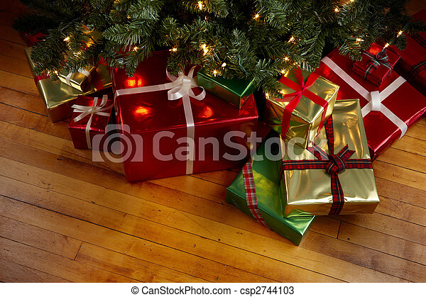 Christmas Presents Under Tree.Christmas Presents Under A Christmas Tree