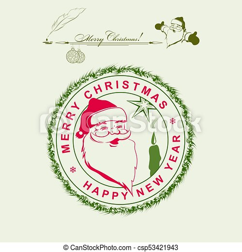 Christmas print with a silhouette of Santa Claus - csp53421943