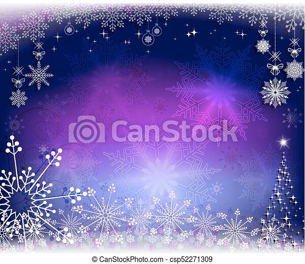 Christmas purple, blue design with snowflakes - csp52271309