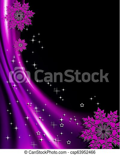 Christmas purple design with silhouette of red elegant snowflakes. - csp63952466