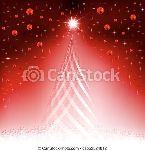 Christmas red background with a silhouette of a Christmas tree - csp52524812
