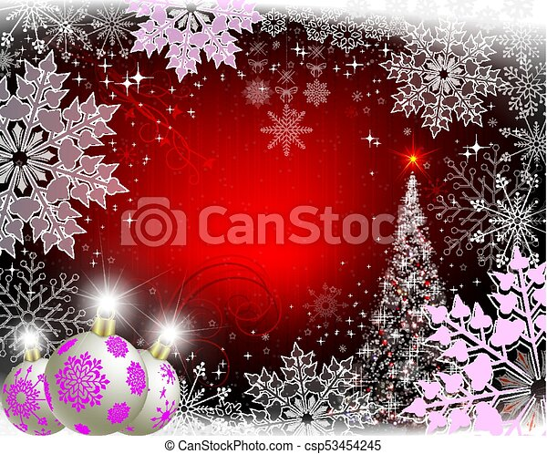christmas red background with purple snowflakes, white balls and christmas tree - csp53454245
