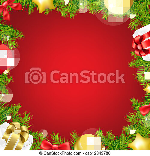 Christmas Red Background With Ribbon And Xmas Ball - csp12343780