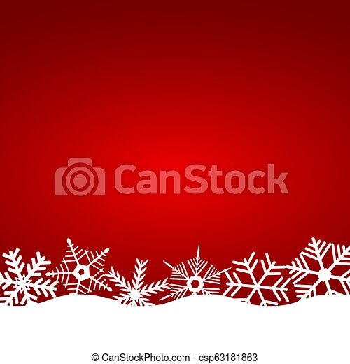 Christmas red background with snowflakes - csp63181863