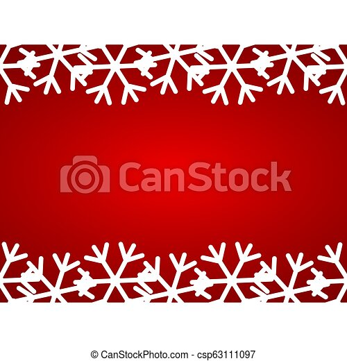 Christmas red background with snowflakes - csp63111097