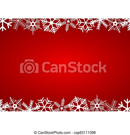Christmas red background with snowflakes - csp63111098