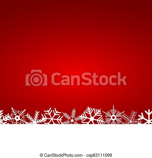 Christmas red background with snowflakes - csp63111099