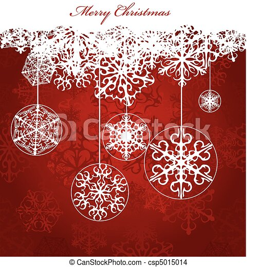 Christmas red Background With Snowflakes - csp5015014