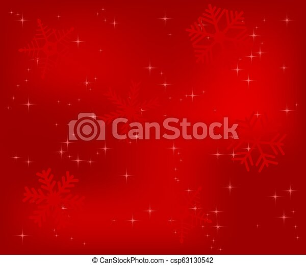 Christmas red background with snowflakes - csp63130542