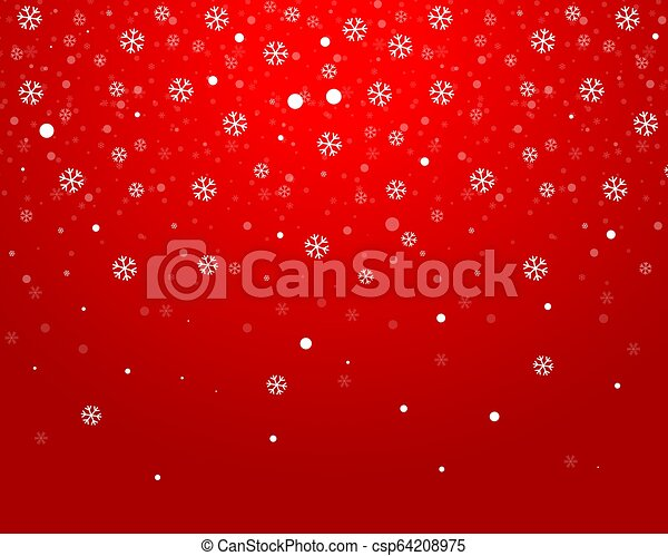 Christmas red background with snowflakes - csp64208975