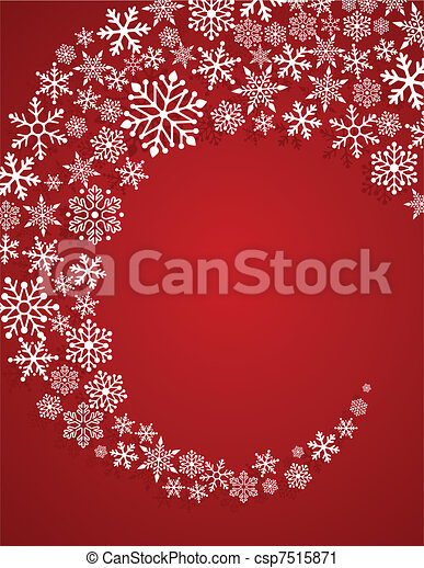 Christmas red background with snowflakes pattern - csp7515871