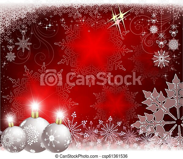 Christmas red background with white balls and snowflakes. - csp61361536