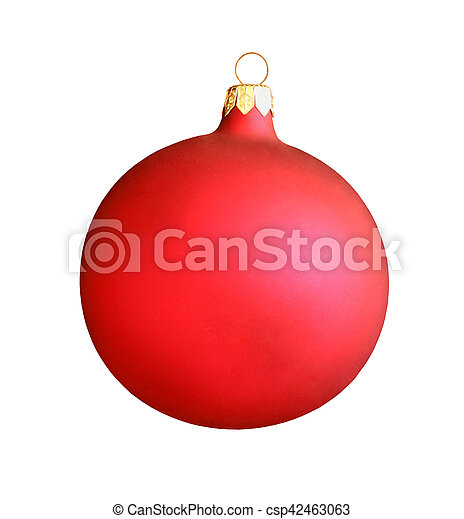 Christmas red ball isolated on white background - csp42463063