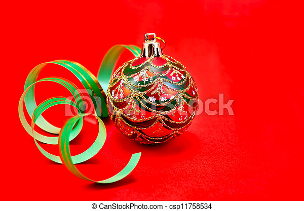 Christmas red ball with green ribbon - csp11758534