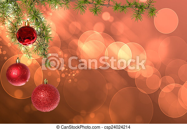 Christmas red balls with green fir tree on pink red bokeh backgr - csp24024214