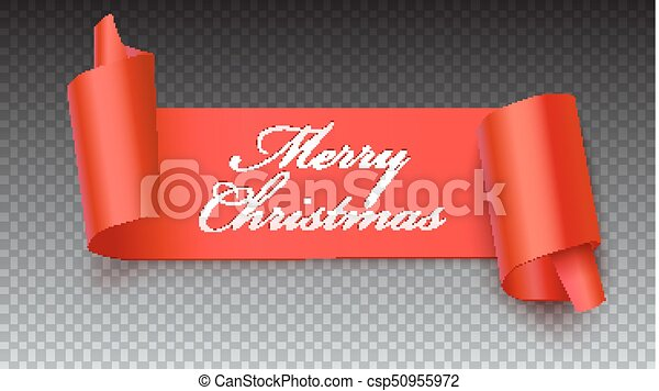 christmas red banner with greeting text 3d illustration new year banner on transparent backdrop realistic red ribbon with wrapped corners