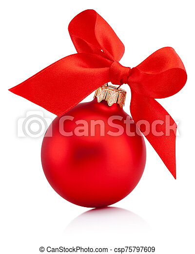 Christmas red bauble isolated with ribbon bow on white background - csp75797609