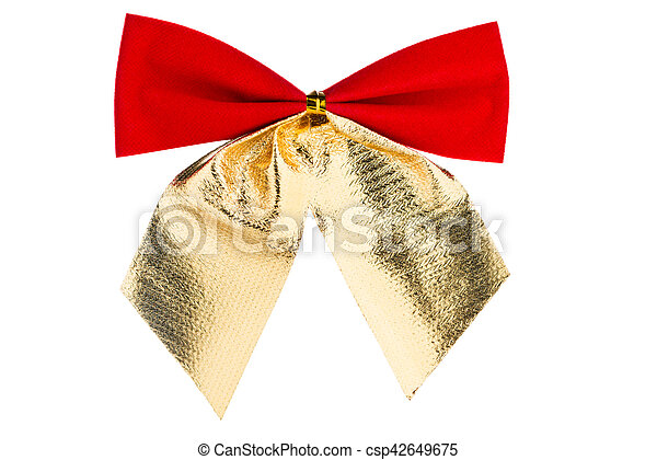 Christmas red bow with golden ribbon isolated on white background - csp42649675
