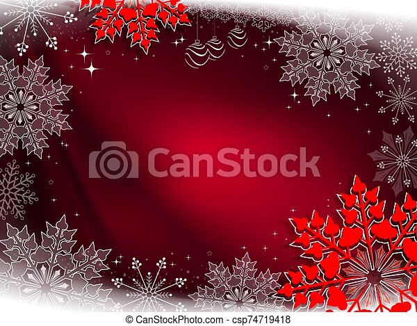 Christmas red composition with beautiful white and red snowflakes - csp74719418