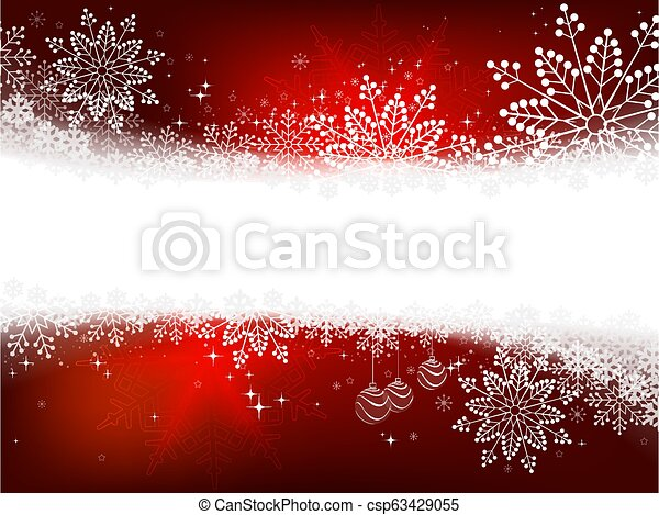 Christmas red design with a variety of white elegant snowflakes. - csp63429055