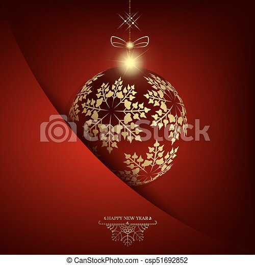 Christmas red design with ball with golden snowflakes - csp51692852