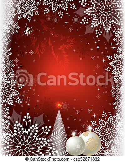 Christmas red design with balls, snowflakes and a Christmas tree - csp52871832
