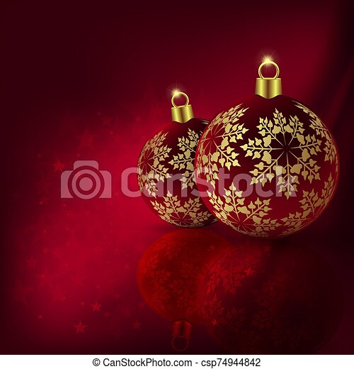 Christmas red design with beautiful balls with golden snowflakes - csp74944842