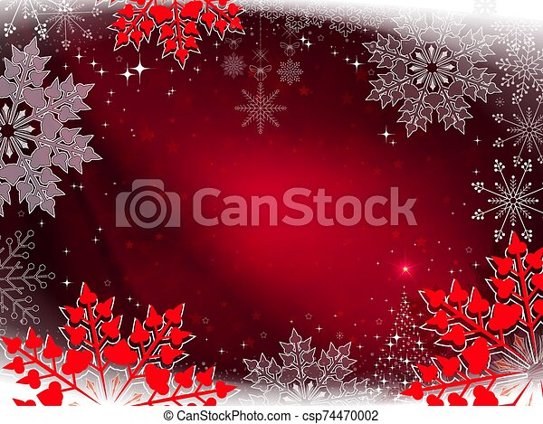 Christmas red design with beautiful white and red snowflakes - csp74470002