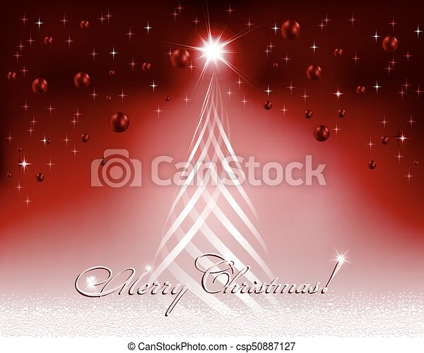 Christmas red design with Christmas tree - csp50887127
