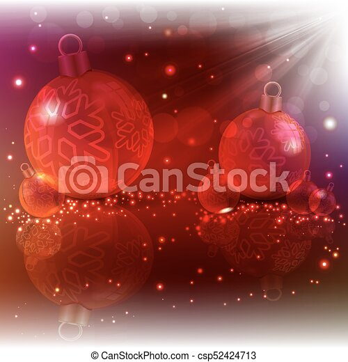 Christmas red design with glass balls and light beams - csp52424713