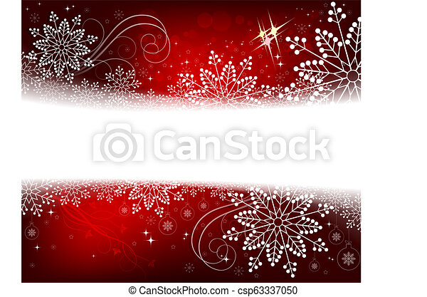 Christmas red design with numerous white, beautiful snowflakes. - csp63337050